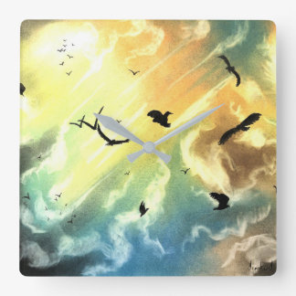 Freedom Of Birds Square Wall Clock
