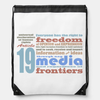 Freedom of Speech and Opnion UDHR Article 19 Drawstring Bag