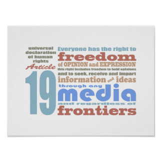 Freedom of Speech and Opnion UDHR Article 19 Poster