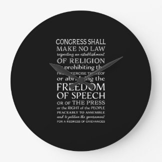 Freedom of Speech Bill of Rights Text Large Clock