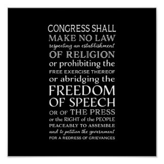 Freedom of Speech Bill of Rights Text Poster