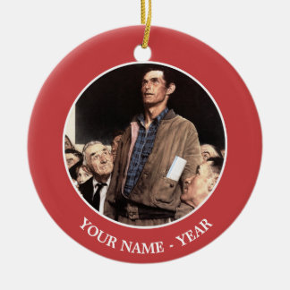 Freedom Of Speech Double-Sided Ceramic Round Christmas Ornament