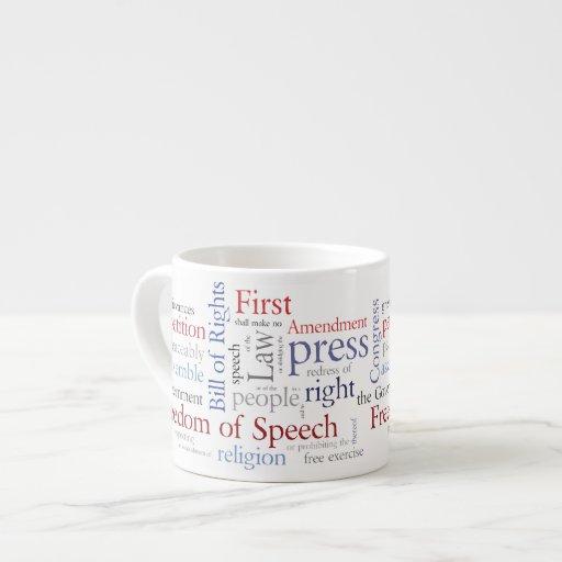 Freedom of Speech First Amendment Rights 6 Oz Ceramic Espresso Cup