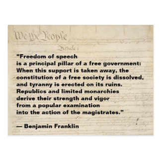 Freedom of Speech is a Pillar of Free Government Postcard