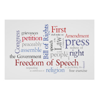 Freedom of Speech! Large Bill of Rights Poster