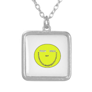 Freedom of speech smiley face square pendant necklace