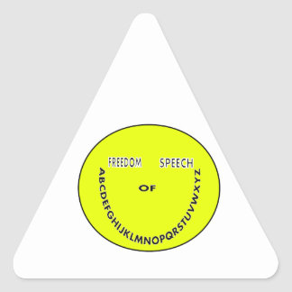 Freedom of speech smiley face triangle sticker