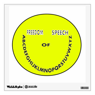 Freedom of speech smiley face wall decal
