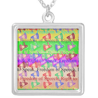 FREEDOM of Speech - Social Political Democratic Square Pendant Necklace