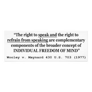 Freedom of Speech Wooley v Maynard 430 US 703 1977 Photo Print