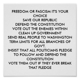 FREEDOM OR FASCISM IT'S YOUR CHOICE SAVE OUR RE... POSTER