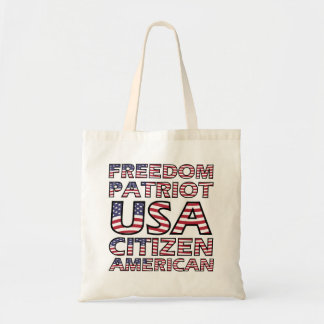 Freedom Patriot American Flag Text Tote Bag