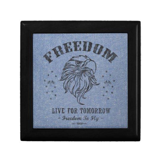 Freedom Patriot USA America Blue Jean Denim Jewelry Box