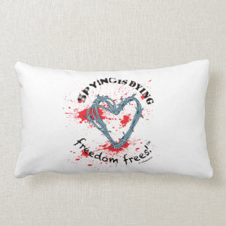 """Freedom pillow(rect.21x13""""cotton;SpyDieFree/Barbw) Throw Pillow"""