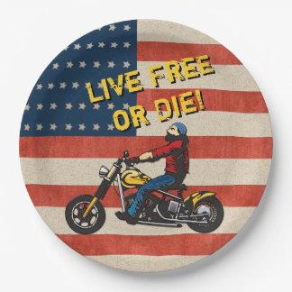 Freedom Rider - USA Flag, Biker and Custom Caption Paper Plate