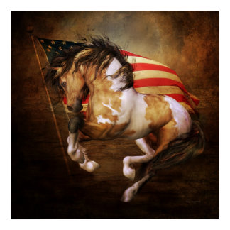 Freedom Run American Flag Poster