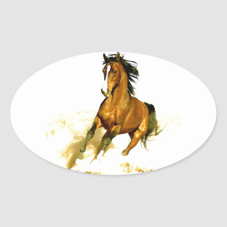 Freedom - Running Horse Oval Sticker