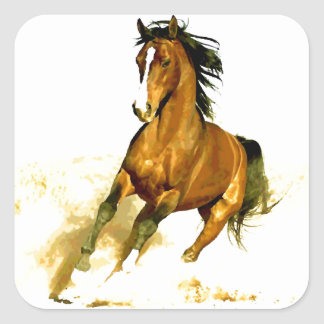 Freedom - Running Horse Square Sticker