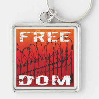 FREEDOM Silver-Colored SQUARE KEYCHAIN