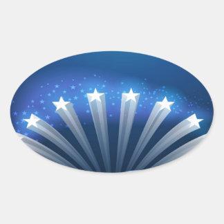 Freedom Stars Stripes and Swirls Oval Sticker