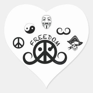 """Freedom sticker (heart2 1.5""""w; origin motif)"""