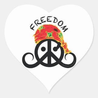 "Freedom sticker (heart 1.5"" pirate bandana)"