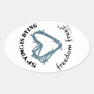 "Freedom sticker (oval4.5/2.7"";SpyDieFree barbwire)"