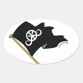 """Freedom sticker (oval 3.5 x 2.7"""") (Pirate flag ;)"""