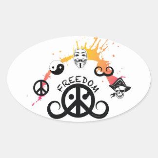 """Freedom sticker (oval 4.5 x 2.7""""; mini splash) oval stickers"""
