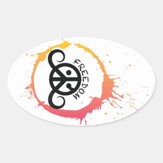"""Freedom sticker (oval 4.5 x 2.7""""; sunny splash) oval stickers"""