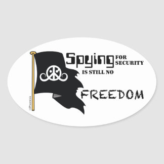 """Freedom sticker (round 4.5 x 2.7""""; Spying Freedom) Oval Stickers"""
