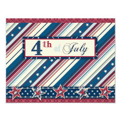 Freedom Stripe Invitation Card 4.25