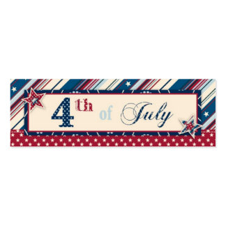Freedom Stripe Skinny Gift Tag Double-Sided Mini Business Cards (Pack Of 20)