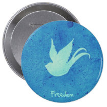 freedom, swallow, motivational, tattoo, cool, art, blue, vintage, free, bird, quote, lifestyle, old school, retro, pattern, illustration, quotations, round, button, Button with custom graphic design