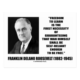 Freedom To Learn First Necessity Self-Reliant Post Card