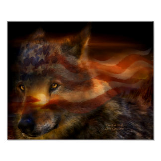 Freedom Wolf Art Poster/Print Poster