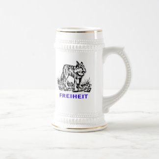 Freedom - wolf in wilderness beer stein