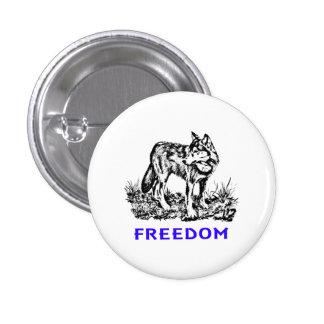 Freedom - wolf in wilderness button