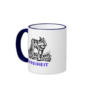 Freedom - wolf in wilderness ringer coffee mug