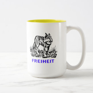 Freedom - wolf in wilderness Two-Tone coffee mug