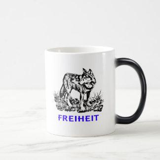 Freedom - wolf in wilderness 11 oz magic heat Color-Changing coffee mug