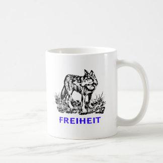 Freedom - wolf in wilderness classic white coffee mug