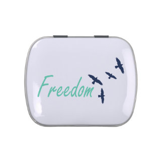 Freedom Word Art Birds Jelly Belly Candy Tins