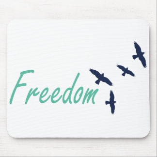 Freedom Word Art Birds Mouse Pad