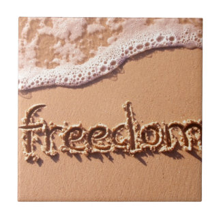Freedom Written Within the Sand Among The Waves Tile