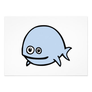 FreeDos Fish - Blue Personalized Invites