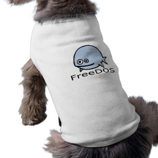 FreeDos Fish - Blue with Name Doggie Tshirt