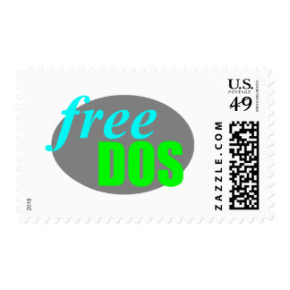 FreeDos Logo - Green and Blue Postage Stamp