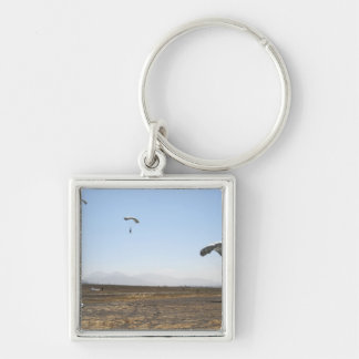 Freefall parachute jumpers Silver-Colored square keychain