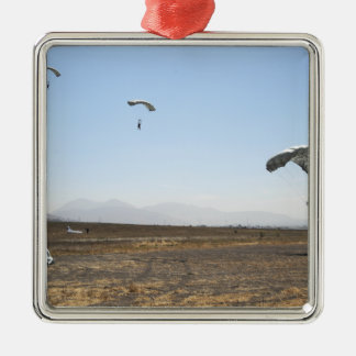 Freefall parachute jumpers square metal christmas ornament